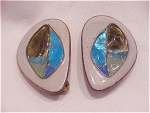 VINTAGE COSTUME JEWELRY - HAND MADE ENAMEL & FOIL GLASS CLIP EARRINGS SIGNED WEDEMEIER