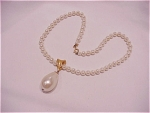 VINTAGE SARAH COVENTRY PEARL NECKLACE WITH DROP PEARL SLIDE