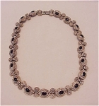 COSTUME JEWELRY - MARCASITE & BLACK ENAMEL CABACHON CHOKER NECKLACE