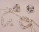 COSTUME JEWELRY - PEARL & AURORA BOREALIS RHINESTONE HEART NECKLACE & PIERCED EARRINGS