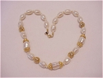 BAROQUE PEARL AND GOLD TONE FILIGREE BEAD NECKLACE SIGNED TN