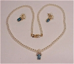 COSTUME JEWELRY - PEARL NECKLACE WITH BLUE RHINESTONE SLIDE AND MATCHING PIERCED EARRINGS