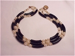 VINTAGE PEARL AND BLACK LUCITE TUBE BEAD 3 STRAND NECKLACE