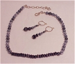 COSTUME JEWELRY - CAROLEE GREY PEARL & CRYSTAL NECKLACE WITH MATCHING PIERCED EARRINGS