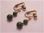VINTAGE COSTUME JEWELRY -  CLIP EARRINGS WITH DANGLING JADE BEADS