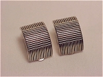 COSTUME JEWELRY - SILVER TONE CLIP EARRINGS SIGNED RALPH LAUREN