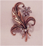 CLEAR AND AURORA BOREALIS RHINESTONE FLOWER COPPER BROOCH