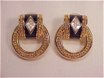 COSTUME JEWELRY - SWAROVSKI GOLD TONE & BLACK ENAMEL RHINESTONE PIERCED EARRINGS
