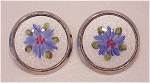 VINTAGE WHITE GUILLOCHE ENAMEL WITH BLUE FLOWER CLIP EARRINGS