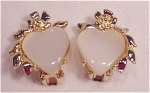 VINTAGE COSTUME JEWELRY - GOLD TONE & FAUX PEARL LUCITE THERMOSET CLIP EARRINGS