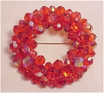 COSTUME JEWELRY - VINTAGE DARK ORANGE AURORA BOREALIS CRYSTAL BROOCH - UNSIGNED WEISS