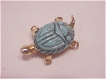 VINTAGE COSTUME JEWELRY - CARVED LUCITE SCARAB TURTLE PIN BROOCH