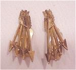 VINTAGE COSTUME JEWELRY - BARTEK GOLD TONE ARROW CLIP EARRINGS