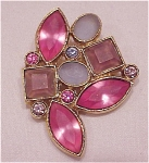 PINK, PURPLE AND BLUE FROSTED GLASS RHINESTONE BROOCH