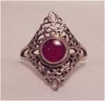 Click here to enlarge image and see more about item 05J2175: STERLING SILVER FILIGREE & CARNELIAN RING SIZE 6-1/2