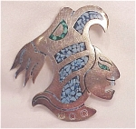 Click to view larger image of TAXCO MEXICAN STERLING SILVER INLAID TURQUOISE WARRIOR BROOCH (Image1)
