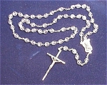 VINTAGE SILVER TONE AND CLEAR GLASS CRYSTAL ROSARY SIGNED ITALY