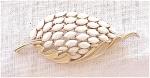 VINTAGE COSTUME JEWELRY - TRIFARI WHITE NAVETTE RHINESTONE BROOCH
