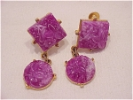 VINTAGE DANGLING CARVED PURPLE GLASS OR LUCITE SCREWBACK EARRINGS