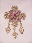 PINK AND RED RHINESTONE CABACHON PEARL GOLD TONE FILIGREE BROOCH