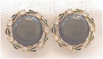 VINTAGE COSTUME JEWELRY - DARK GREEN LUCITE, ENAMEL & RHINESTONE CLIP EARRINGS