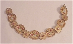 VINTAGE COSTUME JEWELRY - BRUSHED GOLD TONE BRACELET WITH RHINESTONES & FAUX OPAL CABACHONS