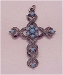 VINTAGE COSTUME JEWELRY - SILVER TONE & BLUE CABACHON CROSS CRUCIFIX PENDANT