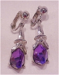 VINTAGE COSTUME JEWELRY - SARAH COVENTRY PURPLE CRYSTAL CLIP EARRINGS