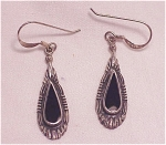 Click here to enlarge image and see more about item 06J2251: STERLING SILVER & BLACK ONYX DANGLING PIERCED EARRINGS