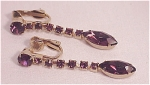 VINTAGE COSTUME JEWELRY - DANGLING AMETHYST RHINESTONE CLIP EARRINGS
