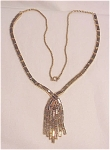 VINTAGE ART DECO STYLE GOLD TONE NECKLACE WITH DANGLES