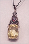 LARGE LEMON CITRINE & GARNET STERLING SILVER PENDANT NECKLACE