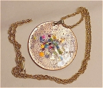 VINTAGE COSTUME JEWELRY - HANDMADE ENAMEL ON COPPER TWO SIDED PENDANT NECKLACE SIGNED INGA