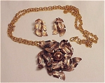 VINTAGE COSTUME JEWELRY - BELL COPPER LEAF PENDANT NECKLACE & MATCHING CLIP EARRINGS