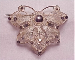 Click to view larger image of VINTAGE STERLING SILVER FILIGREE BUTTERFLY OR FLOWER C CLASP BROOCH (Image1)