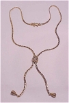 VINTAGE GOLDETTE PEARL AND RHINESTONE SLIDE LARIAT NECKLACE