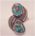 Click here to enlarge image and see more about item 62304: VINTAGE NATIVE AMERICAN STERLING SILVER TURQUOISE RING