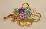 ENAMEL AND RHINESTONE FLOWER NOSEGAY BROOCH