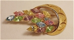 Click to view larger image of VINTAGE COSTUME JEWELRY - GOLD TONE BROOCH WITH PASTEL RHINESTONE NAVETTES (Image1)