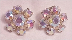 VINTAGE JULIANA AURORA BOREALIS RHINESTONE CLIP EARRINGS