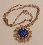 VINTAGE BLUE RHINESTONE AND PEARL FILIGREE PENDANT NECKLACE