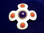 VINTAGE HOBE'  WHITE ENAMEL BROOCH WITH BLUE AND RED CABACHONS