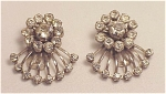 VINTAGE COSTUME JEWELRY - 2 SMALL CLEAR RHINESTONE DRESS OR SHOE CLIPS