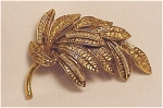 VINTAGE COSTUME JEWELRY - ANTIQUED GOLD TONE BROOCH WITH SEED PEARLS