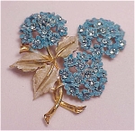 VINTAGE COSTUME JEWELRY - BLUE ENAMEL & RHINESTONE FLOWER BROOCH