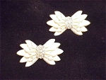 VINTAGE PAIR OF FAUX IVORY AND RHINESTONE SCATTER PIN BROOCHES