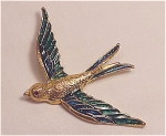 COSTUME JEWELRY - GOLD TONE BIRD BROOCH WITH BLUE AND GREEN ENAMEL