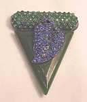 VINTAGE COSTUME JEWELRY - ART DECO SIGNED BAKELITE DRESS CLIP BLUE & GREEN RHINESTONES