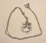 VINTAGE COSTUME JEWELRY - STAR-ART STERLING SILVER & AURORA BOREALIS RHINESTONE PENDANT NECKLACE