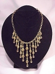 Click to view larger image of COSTUME JEWELRY - NAPIER POSSIBLE VINTAGE GOLD TONE CHOKER NECKLACE WITH DANGLING BEADS (Image1)